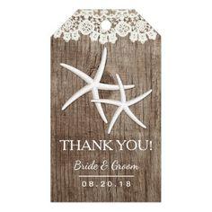 Rustic Wedding Starfish Laced Barn Wood Thank You Gift Tags
