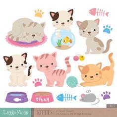 Kitties Digital Clipart Cat Clipart by LittleMoss on Etsy