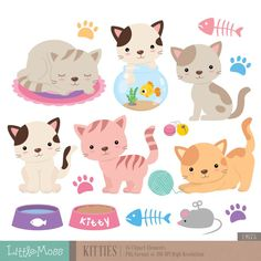 Kitties Digital Clipart, Cat Clipart