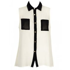 SHIRT WITH CONTRAST COLLAR AND POCKETS ($20) ❤ liked on Polyvore