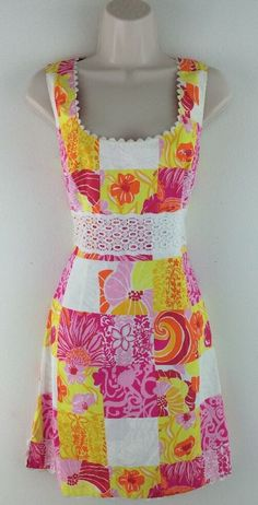 LILLY PULITZER Pink Patchwork Print Floral Dress 10P Petite #LillyPulitzer #TeaDress #Casual