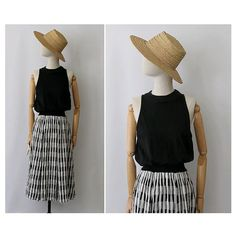 Vintage black & white Dress sleeveless Massimo Favola / vintage gingham summer Dress M L
