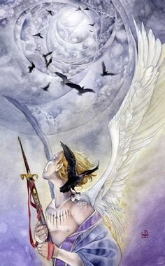 Nine of Swords, Shadowscapes Tarot:  Suffering from anguish, fear, anxiety, guilt, uncertainties in the night.