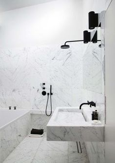 All marble and black fixtures