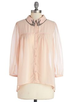 Post-Flight Fete Top. This day of travel is perfectly pleasant thanks to the breezy silhouette and relaxing pale pink hue of this sheer blouse. #pink #modcloth