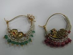 amazing old basra pearls indian traditional nose rings Hand Jewelry, Moon Jewelry, India Jewelry, Temple Jewellery, Gems Jewelry, Royal Jewelry, Jewlery, Nath Nose Ring, Bridal Nose Ring