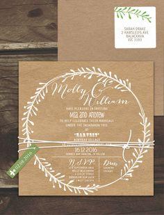 Rustic Leaf Wreath White Ink On Kraft Invitation Online Australia | Lilykiss | Wedding Invitations Australia | Lily Kiss
