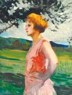 Thorma János (1870-1937) -  Woman standing at the Riverside, 1929
