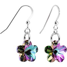 Vitrail Flower Dangle Earrings Created with Swarovski Crystals