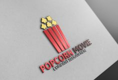 Popcorn and Movie Logo by Josuf Media on @creativemarket
