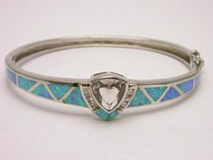 Solid sterling silver bangle bracelet blue opal and by shoptustin, $56.00