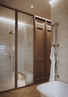 Mid Century Modern Bathroom, Modern Master Bathroom, Master Shower, Modern Bathrooms, Wooden Vanity, Wall Mounted Light, Modern Shower, Modern Masters, Amazing Spaces