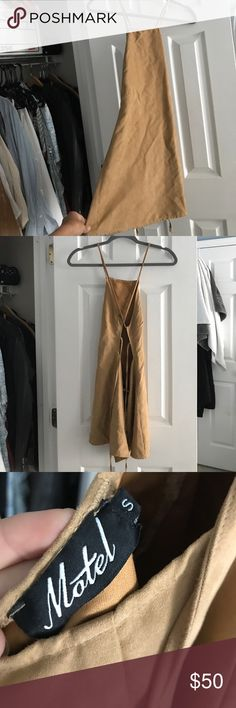 Suede peppermayo dress Golden suede peppermayo dress. Very versatile, great condition, worn 4 times, pictures show it's a little wrinkled but there are no stains/rips. Great dress Peppermayo Dresses Mini