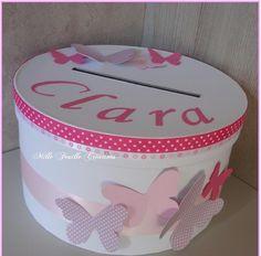 Urne baptême personnalisée - thème papillons rose bonbon - parme Rose Bonbon, Communion, Baby Shower, Birthday, Tables, Scrapbooking, Vintage, Decor, Party