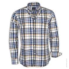 McGregor  Hemd 1/1 Man DISTY GRAISON  Legeres Regular Fit Hemd im Karo-Look.      Knopfleiste     Button-Down Kragen     knöpfbare Manschetten     Brusttasche mit dezentem Logo-Stick     leichter Stoff     Farbe: beige/ navy