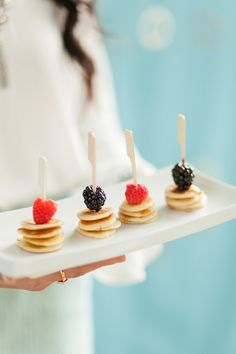 Skewers with Mini Pancakes and Berries | Jennifer Xu Photography on @bajanwed via @aislesociety