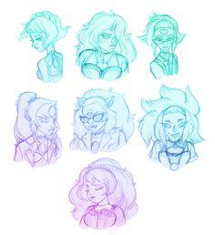 Steven universe | Lapis Lazuli, Jasper, Peridot, Opal, Sugilite, Malachite and Rose Quartz as pastel Goth