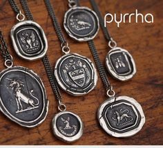 Pyrrha sterling silver wax seal talisman pendant necklace heart lock pyrrha wax seal jewelry mozeypictures Images
