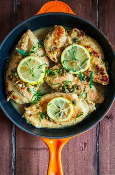 Chicken (or fish) in a simple white wine sauce: