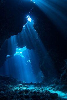 Sun rays in underwater cave