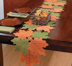 Embroidered felt leaves join together to cover your table. Choose this festive fall table runner to decorate your home for fall. Thanksgiving Crafts, Fall Crafts, Diy And Crafts, Leaf Table, Diy Table, Felt Leaves, Paper Leaves, Quilted Table Runners, Fall Table