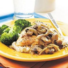 Flavorful herbs and spices, sherry, shallots, and mushrooms give these plain chicken breasts rich flavor. Refrigerated mashed potatoes and broccoli complete the meal. If you don't care to use the wine, you can use cooking sherry and omit the salt. Or, you can use 1/3 cup of chicken broth.
