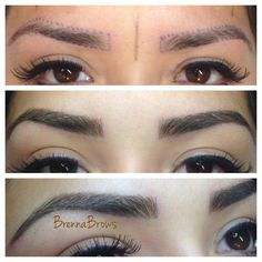 Hair stroke tattoo eyebrows. They look so real. @BrennaBrows