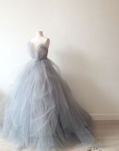 Unique gray tulle sweetheart neck long prom dress, tulle wedding dress, tulle gown