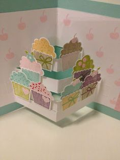 Cute idea for pop up card. Stampin' Up! Pop Up Cupcake Card - Wendy Schultz via Connie Hewitt onto Papercrafts. Fun Fold Cards, Pop Up Cards, Folded Cards, Cute Cards, Card Tutorials, Kirigami, Kids Cards, Creative Cards, Greeting Cards Handmade