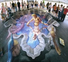 3D street art — alternatively known as pavement, chalk or sidewalk art — is a form of anamorphic art pioneered by American Kurt Wenner