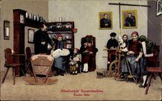 Postcard Altenburger Bauerntrachten, Trautes Heim, Spinnrad
