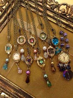 A gaggle full of repurposed watch cases. ~my rogue heart A gaggle full of repurposed watch cases. ~my rogue heart A gaggle full of repurposed watch cases. ~my rogue heart Stone Jewelry, Charm Jewelry, Jewelry Art, Beaded Jewelry, Jewelry Accessories, Jewelry Design, Jewelry Ideas, Jewellery Box, Jewelry Bracelets