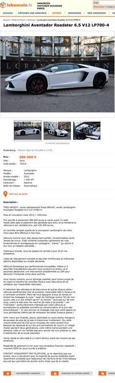 En redressement fiscal, il vend sa Lamborghini sur Le Bon Coin, et c'est sans doute l'annonce la plus drôle du web ! Une offre à ne pas rater...