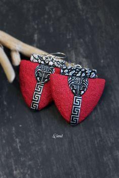 Art Deco Red Earrings Boho Earrings for Womens by Lelandjewelry