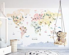 Colorful Animal World Map Decal - olympus. Kids World Map, World Map Art, World Map Decal, Map Nursery, Nursery Decor, Nursery Room, Baby Room, Nursery Ideas, Room Ideas