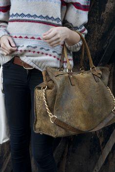 winter sweater & rugged handbag