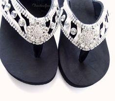 6358b0ab13b31 Nib women s western style zebra rhinestone bling wedge flip flop sandals  black