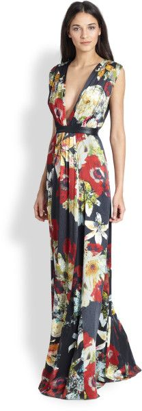 Alice + Olivia Multicolor Triss Floral Maxi Dress