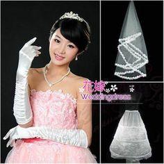花嫁 結婚式 披露宴 二次会 手作リ ウェディングドレス プリンセスドレス 素敵 パニエ グローブ ヴェール ベール 飾り物    ブライダル用