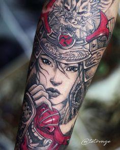 Samurai tattoo Men tattoo Sleeve tattoo Samurai girl Tattoo design Unik @tetovaze