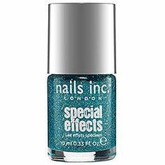 nails inc. - Special Effects 3D Glitter Nail Polish in Fitzroy Square 3D Glitter - clear with green glitter and chunky teal glitter  #sephora