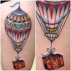 42 Ideas Travel Tattoo Sleeve Air Balloon For 2019 Trendy Tattoos, Love Tattoos, Beautiful Tattoos, New Tattoos, Tatoos, Wanderlust Tattoos, Air Balloon Tattoo, Photo Images, Future Tattoos