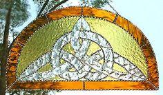"Stained Glass Gold Celtic Knot Suncatcher Art Glass - 9"" x 17"" - $64.95 --- Celtic Designs, Irish Designs, Irish Sun Catchers - Glass Suncatchers, Stained Glass Décor, Stained Glass Sun Catchers -  Stained Glass Design - See more stained glass designs at www.AccentonGlass.com"