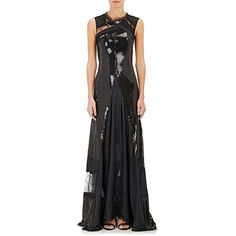 Nina Ricci Women's Embellished Sleeveless Gown ($1,769) ❤ liked on Polyvore featuring dresses, gowns, black, floral print dress, floral dresses, sequin ball gown, sequin evening dresses and asymmetrical dresses