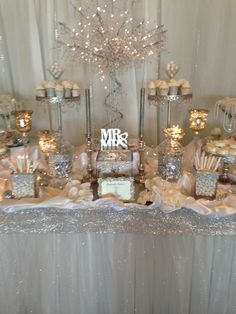 Silver and white rhinestone wedding candy buffet designed by Perfectly Posh Candy Buffets perfectlyposhct@hotmail.com for info