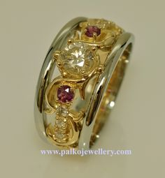 14KY&W Diamond and Ruby Personal Moment in Time Ring for Virginia. This brought together stones from many meaningful pieces which created a wonderful new heirloom to carry on. Love the open ornateness. What do you think?