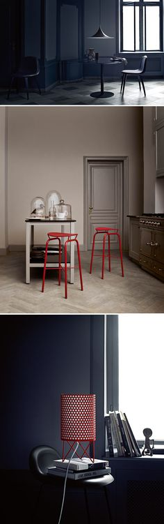 gray walls, herringbone floor, pop of red