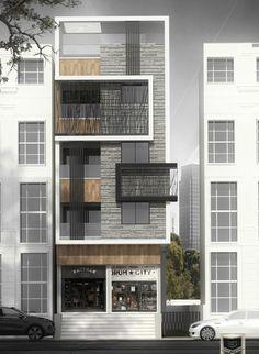 Office Building Architecture, Home Building Design, Modern Architecture House, Facade Architecture, Residential Architecture, Building Elevation, House Elevation, Modern Apartment Design, Modern House Design