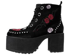 Buy the black velvet roses and snake embroidered vegan friendly chunky platform boot Style #A9193L from the official T.U.K. Shoe store. Get fast shipping and the best selection!