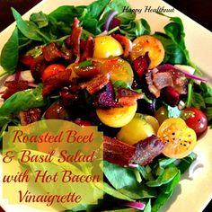 Roasted Beet  Basil Salad with Hot Bacon Vinaigrette